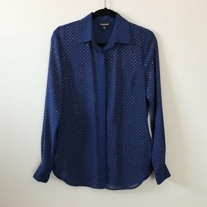 Bebe Blue Blouse with Gold Metal Dots - Beautiful!